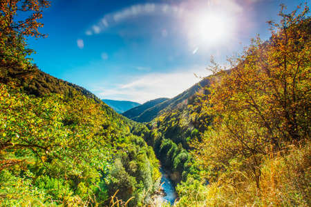 cerulean: Sunny autumn day in the foothills of Adygea Stock Photo