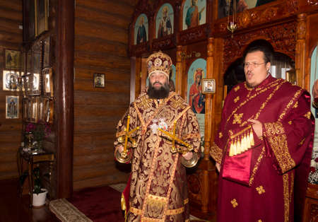 Adygea, Russia - November 8, 2017: The Archbishop and archdeacon serve at the divine Liturgy in the Orthodox Church
