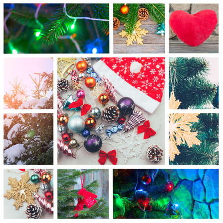 New Years festive collage with a garland, Christmas toys, Christmas tree lights (photo all mine)