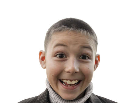 Portrait of a joyful and surprised shaven boy 8 years old, isolated on white background Stok Fotoğraf