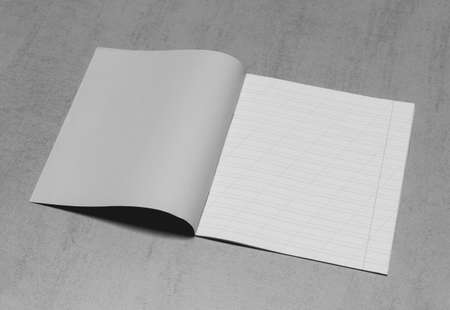 open school notebook in a narrow line with a slash for learning spelling, mock up with copy space on a gray background, black and white photo Stock fotó
