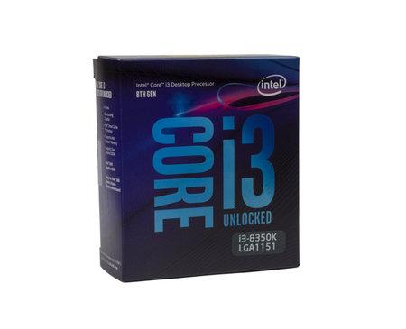 Maykop, Russia - November 12, 2018: intel core I3 desktop processor 8th gen in box on white background