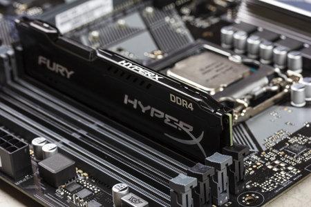 Maykop, Russia - November 9, 2018: black DDR 4 DIMM 16 Gb Kingston HyperX Fury Memory RAM Module in the slot on the motherboard Asus closeup