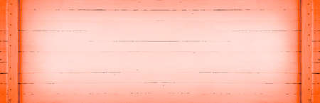 horizontal panoramic vintage living coral color retro background with wooden planks and copy space Stock Photo - 114612417