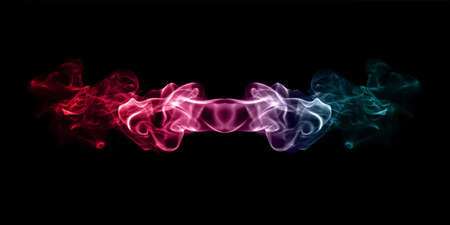 multicolored smoke isolated on black background close up