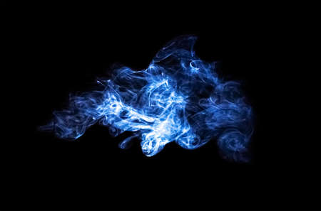 abstract blue smoke cloud isolated on black background Stock Photo