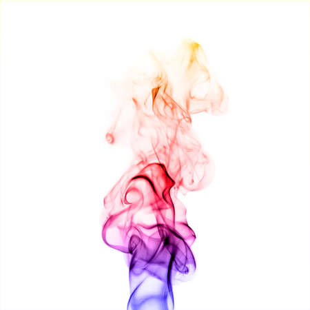 colorful smoke isolated on white background close up Stock Photo
