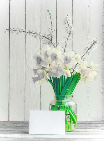 Bouquet of daffodilsin and blossoming plum branch a glass jar with a mock up blank greeting card on a wooden table in the background of the white wooden wall with copy space