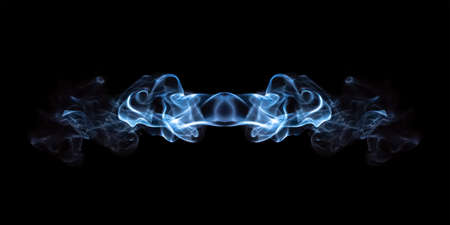 abstraction of blue smoke isolated on black background