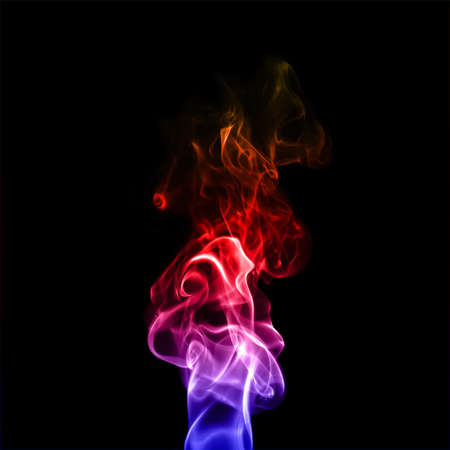 colorful plume smoke isolated on black  background closeup Stock Photo