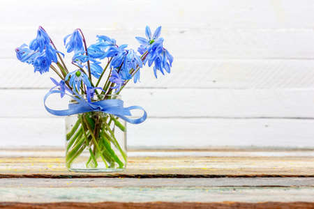bouquet of bluebell flower in a vase on the table on a white background with copy space closeup Stock Photo
