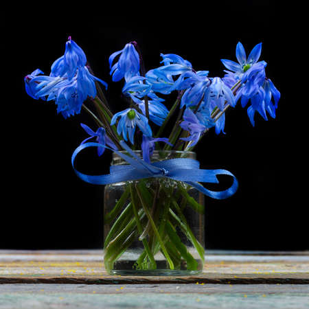bouquet of bluebell flower in a vase on the table on a black background closeup