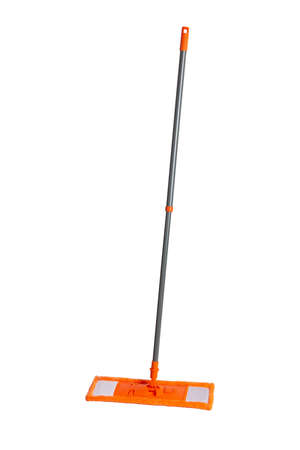 Mop with orange microfiber rag and grey plastic tubular handle isolated on a white background 免版税图像