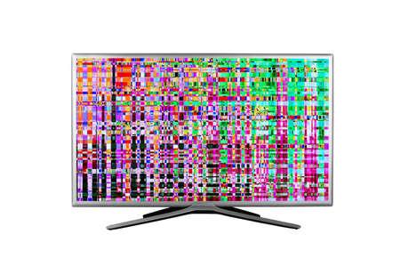 Monitor o televisión con fallos digitales, distorsiones en la pantalla aisladas sobre fondo blanco.