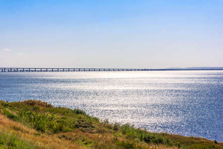 beautiful landscape with views of the black sea and the Crimean bridge on a Sunny summer morning