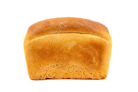 A whole loaf of white bread isolated on a white background close up side view