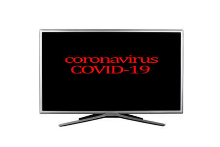 Bright red headline with inscription Coronavirus COVID-19 on a black TV screen isolated on a white background, concept notification in the media and on television about the virus