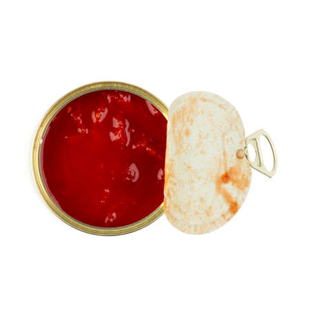 open tin can with tomatoes isolated on white background close-up, top view