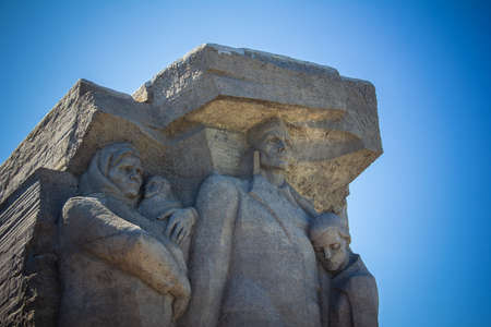 Kerch, Russia - 13 August 2019: Fragment of the memorial complex ajimushkai quarries dedicated to Soviet soldiers and civilians who fought with the German fascist invaders during the great Patriot 報道画像