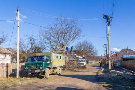 Krasnodar, Russia - March 2, 2020: working electricians Kubanenergo and Rosseti employees cut tree branches and eliminate the breakage of the electric network line