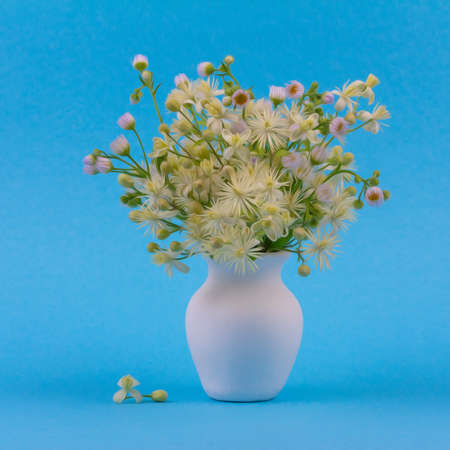 beautiful bouquet of wild flowers in a white jug on a blue background close-up, oil paint styling