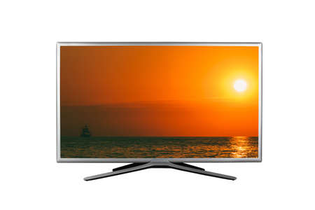 4K monitor or TV isolated on white background with a summer seascape with a sailboat at sunset