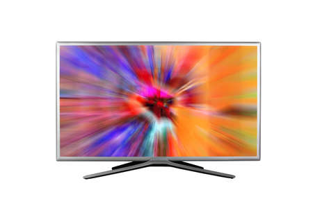 4K monitor or television with digital glitches, distortions on the screen isolated on white background