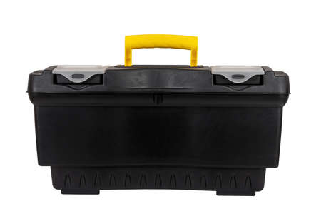 black plastic container tool box isolated on white background close up Stock Photo
