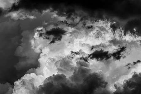dramatic pre-storm cloudy sky on a spring or summer day black and white photo