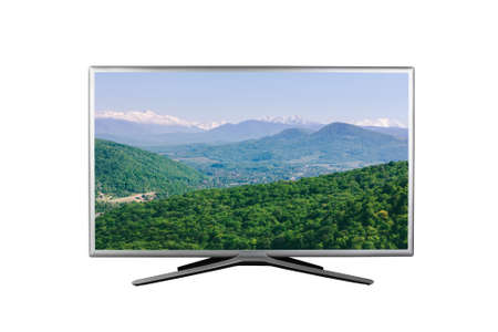 4K monitor or TV with a summer or spring mountain landscape on the screen isolated on white background Stock Photo