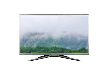 4K monitor or TV with a spring or summer cloudy foggy landscape on the screen isolated on white background