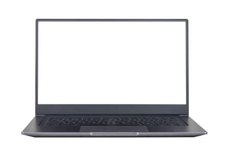 white mock up on laptop screen isolated on white background close up front view