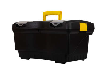 black plastic container tool box isolated on white background closeup Stock Photo