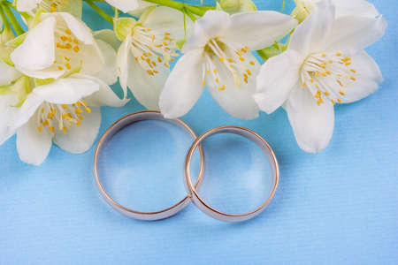 a pair of gold wedding rings with white jasmine flowers on a blue background close up