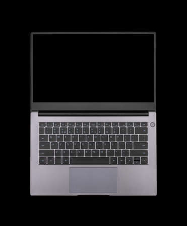 black mock up on an open laptop screen isolated on a black background top view Stock Photo