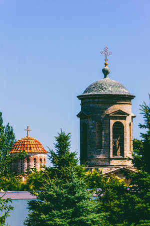 architectural landscape with towers and domes of an ancient Byzantine church in Kerch Stock Photo