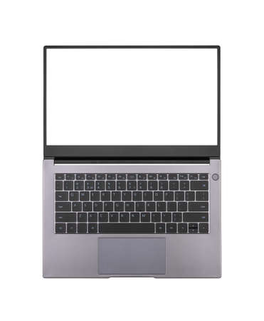 white mock up onopened laptop screen isolated on white background close up top view Stock Photo