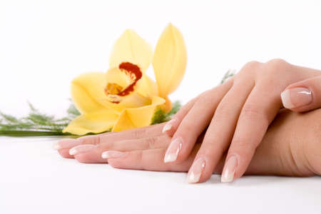 french model: Nails with flower on white Stock Photo