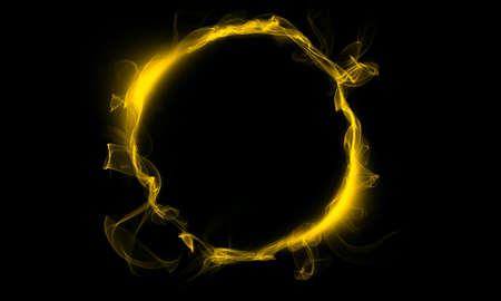 Yellow ring consisting of a smoke. The magical thing. Fantasy.