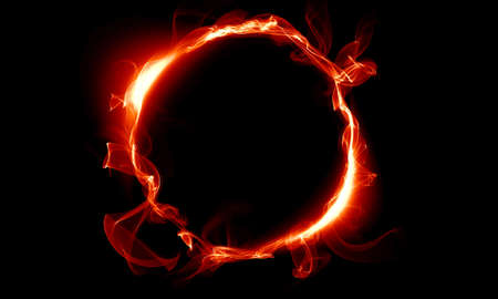 Red ring consisting of a smoke. The magical thing. Fantasy. Stock Photo