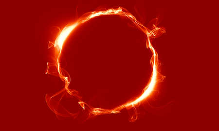 Yellow red ring consisting of a smoke. The magical thing. Fantasy. Stock Photo