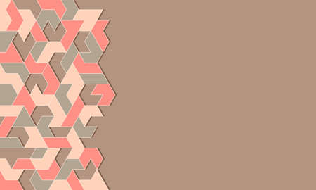 Light brown abstract background with pastel geometric mosaic pattern. Vector illustration.