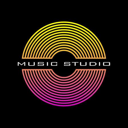 Music disc logo for a recording studio. Vinyl record poster. Cover for the music album. Vector. Logo