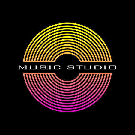 Music disc logo for a recording studio. Vinyl record poster. Cover for the music album. Vector.