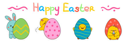Cute easter funny chicks and bunny with eggs icons set in cartoon style. Vector isolated on white.