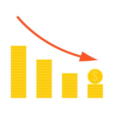 Coins down graph. The concept of reducing costs, investment expenses, financial crisis. Ilustración de vector
