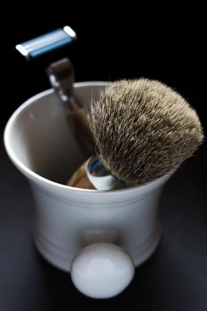 Shaving Tools on black Background