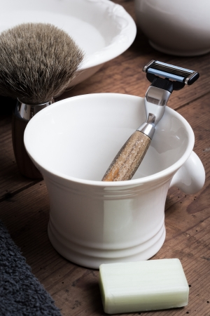 body grooming: Shaving Tool on wooden Table