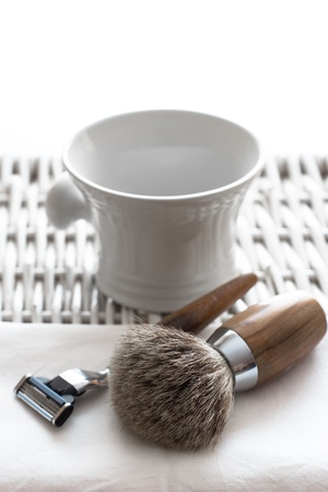 Shaving Tool on wooden Table and white Background