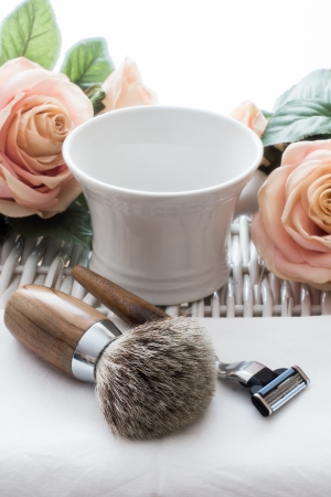 Shaving Tool with Rose on wooden Table